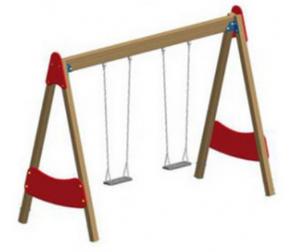 Качели двойные на деревянных стойках с подвеской на цепях ДП117