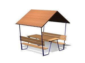 Беседка со столом и скамейками ДП615